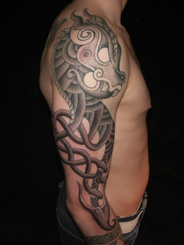 Viking-style Dragon sleeve by tattooist Colin Dale